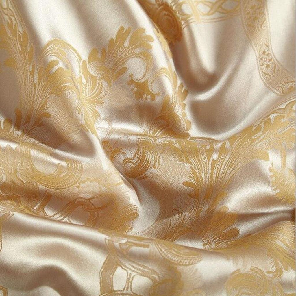 L&M European style silk Four sets Mulberry silk Sided Silk Solid color Wedding Kit Bed Supplies 200 230 cm , gold , 200230cm by WANG (Image #3)