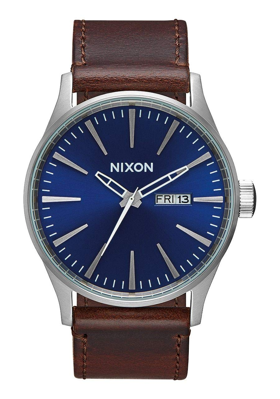 NIXON Sentry Leather A111 - Blue/Brown - 106M Water Resistant Men's Analog Classic Watch (42mm Watch Face, 23mm Leather Band) by NIXON