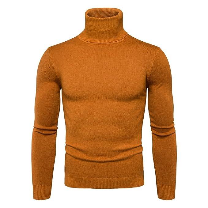Sudadera de cuello alto para hombre - Juleya Blusa de manga larga básica para hombre Suéter