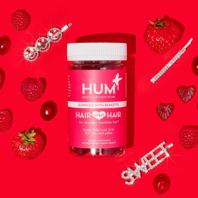 Amazon.com: HUM Hair Sweet Hair Gummies - Hair Growth Vitamins with 5000mcg  Vegan Biotin, B Vitamins, Fo-Ti & Zinc - Supports Hair Growth - Vegan,  Gluten Free and Non GMO (60 Berry