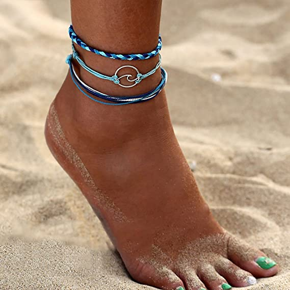 Winwinfly 3 Layers Anklet Chain Boho Beach Sandal Barefoot Alloy Bead Ankle Bracelet