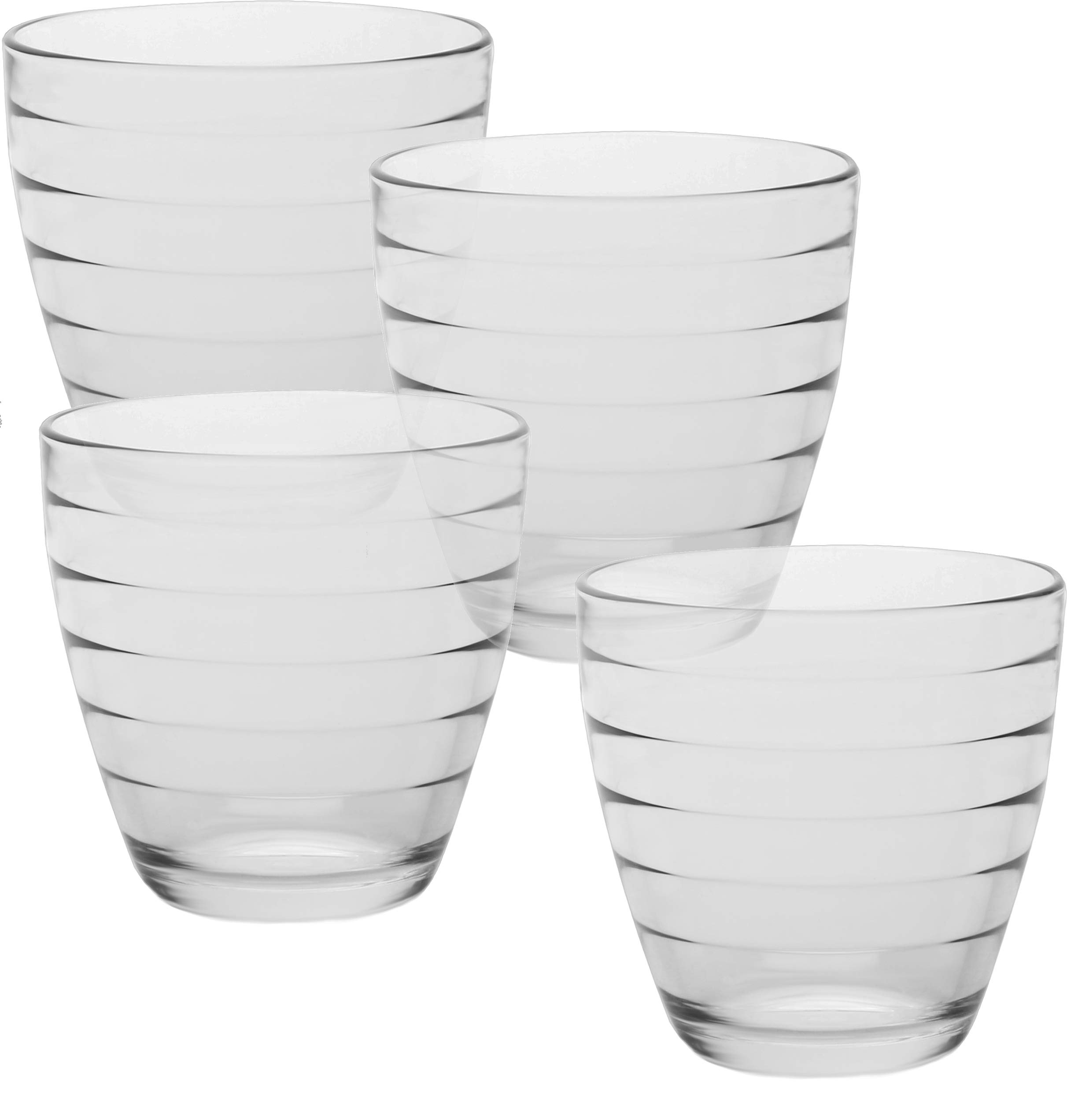 Circleware Ring Double Old Fashioned Whiskey Juice Drinking Glasses, Set of 4, 13 Ounce