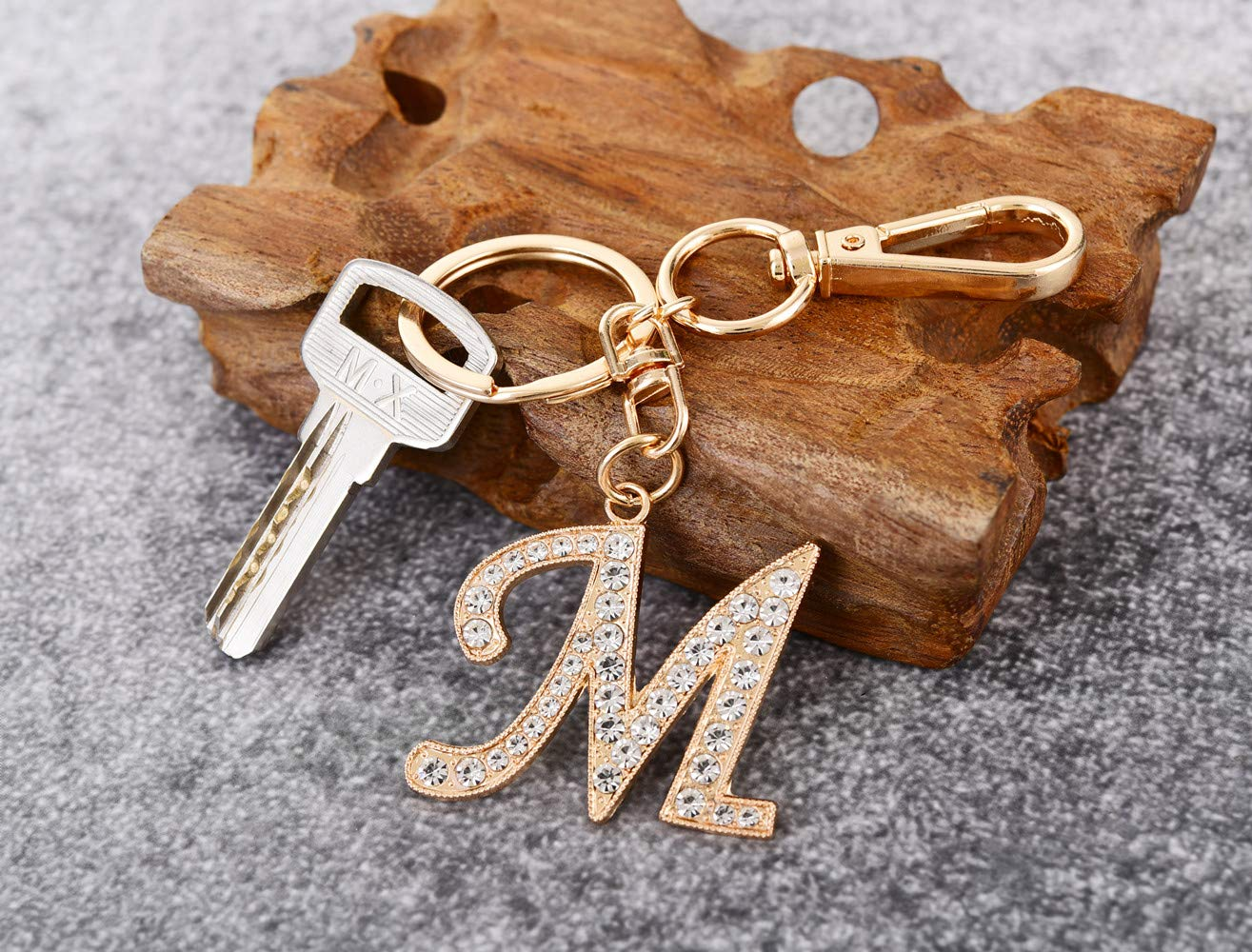 Keychain for Women AlphaAcc Purse Charms for Handbags Crystal Alphabet Initial Letter Pendant with Key Ring,Letter M