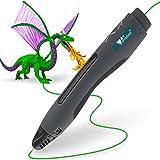 Amzdeal 3D Stylo imprimante, 3D Pen intelligent pour 3D dessins avec adaptateur UE, câble USB et 2 paquets de filaments, Cadeau parfait pour Enfants - Noir