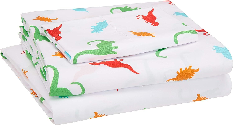 AmazonBasics Kid's Sheet Set - Soft, Easy-Wash Microfiber - Twin, Multi-Color Dinosaurs