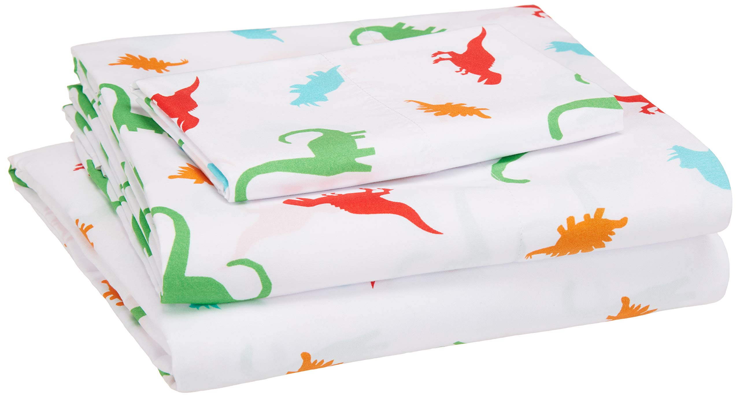 AmazonBasics Kid's Sheet Set - Soft, Easy-Wash Microfiber - Twin, Multi-Color Dinosaurs by AmazonBasics