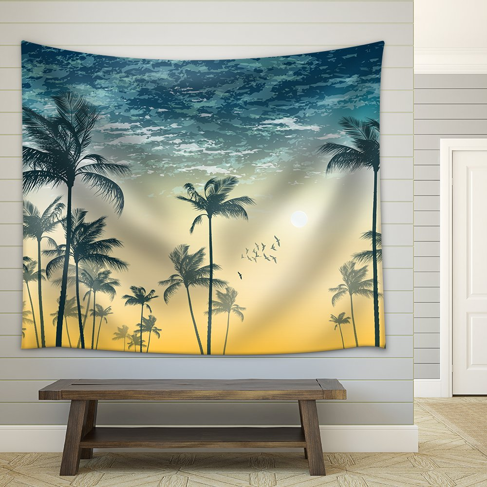 Vector Tropical Palm Tree Scene at Sunset or Sunrise Highly Detailed ...