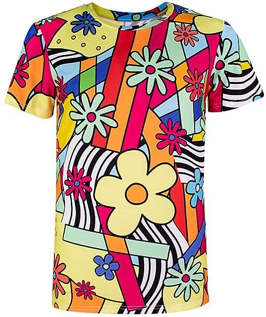 super popular 9f8fe 98801 COSAVOROCK T-Shirt Uomo Colorato Flower retrò Costume