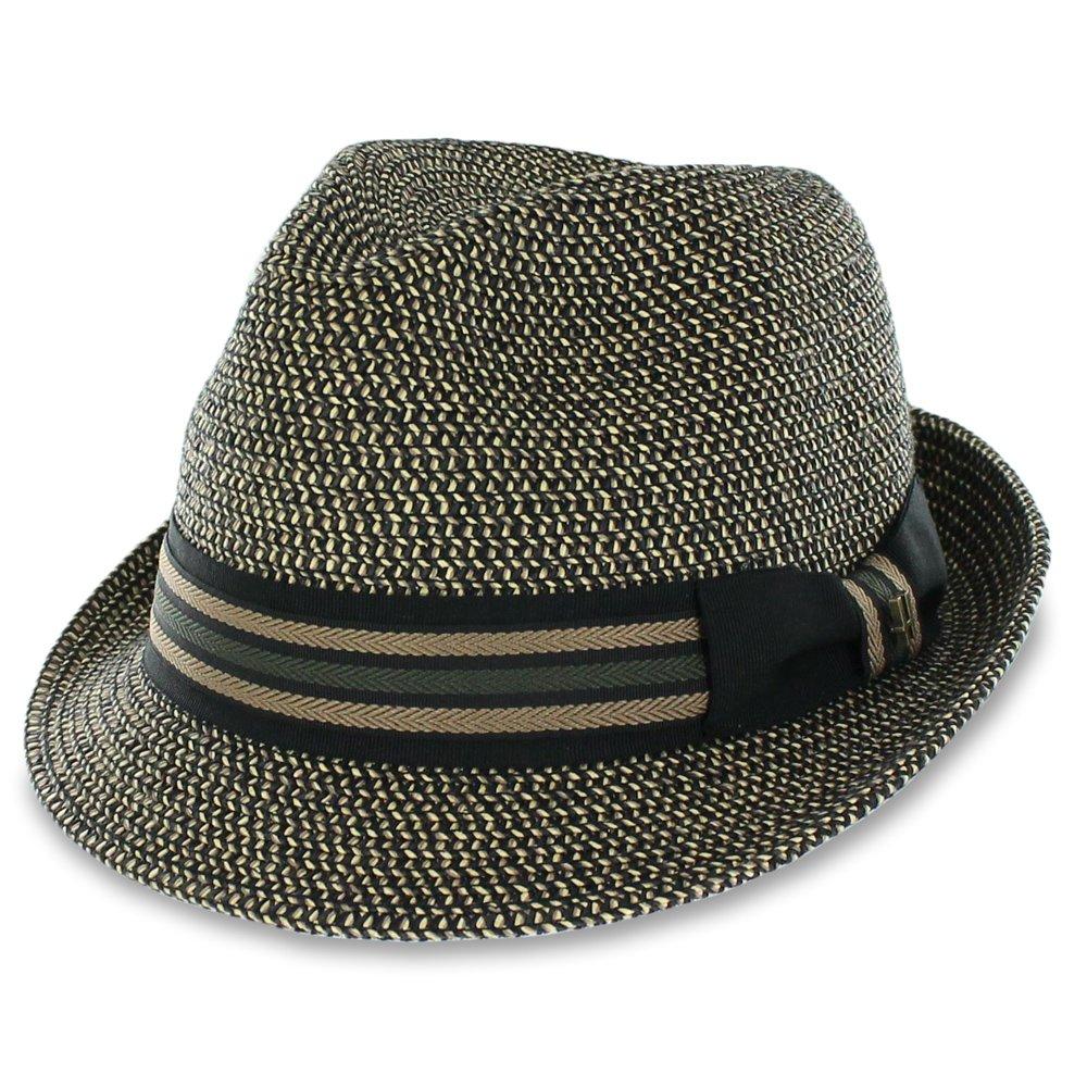 Men/Women Summer Straw Trilby Fedora Hat in Blue, Tan, Black (Medium, Mezzblack)