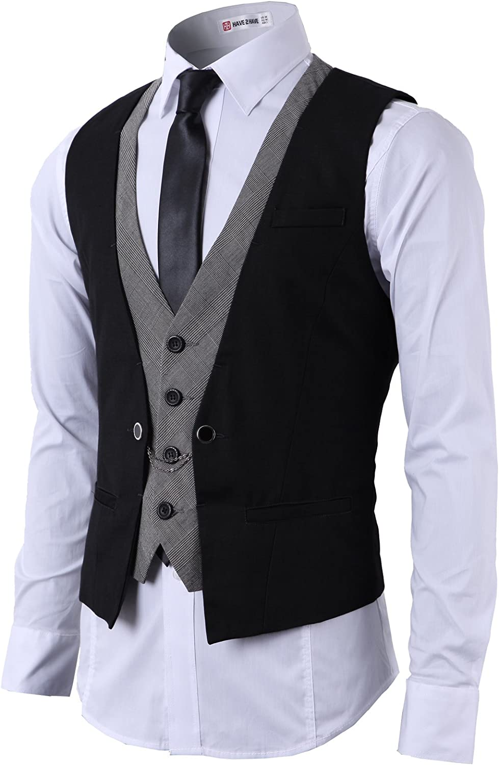 H2H Mens Dress Slim Fit Vests Premium Business Dress Suit Vests Button Closure
