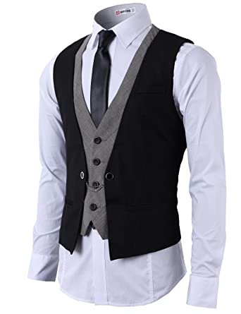 H2H Mens Fashion Business Suit Layered Vest With Chain Rings (CMOV01)  BLACK, US