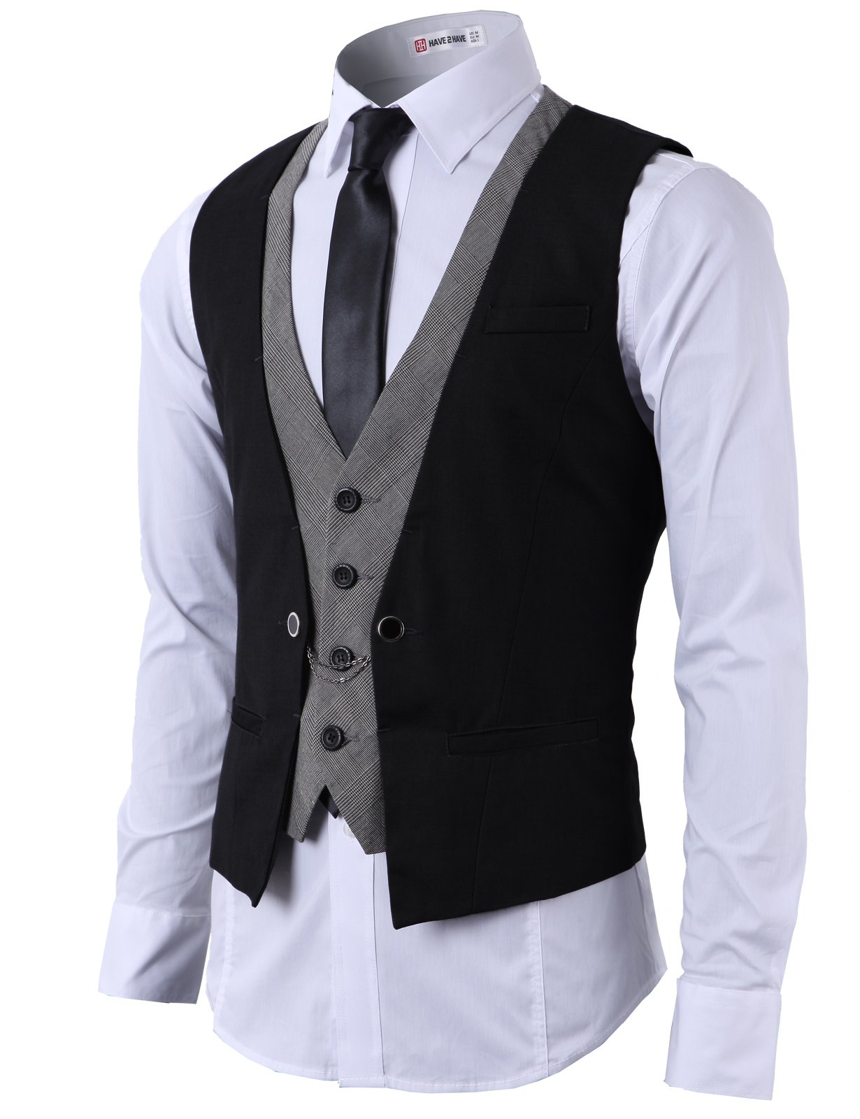 H2H Mens Fashion Business Suit Layered Vest With Chain Rings BLACK(CMOV01), US M (Asia L)