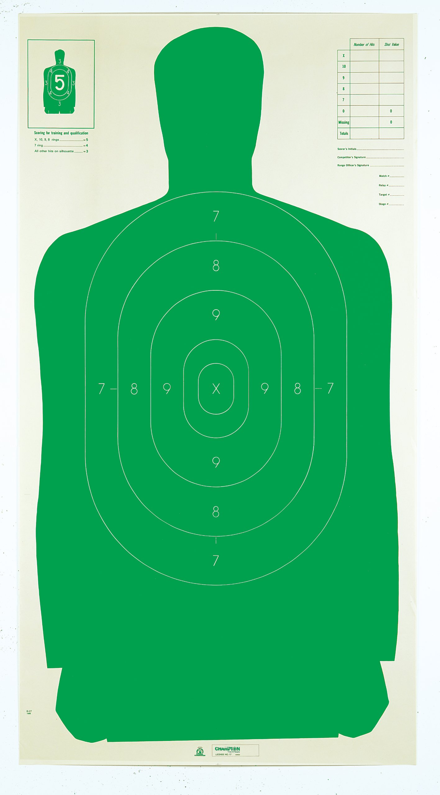 Champion LE B27FSA 24x45-Inch Green Silhouette Target (Pack of 100)