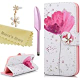 Iphone 6S Case,Iphone 6 Case (4.7 Inch) - Mavis's Diary Bling 3D Handmade Wallet Bling Diamonds White PU Leather Butterfly Magnetic Flip Cover Elegant Pink Flower Pattern with Dust Plug & Stylus
