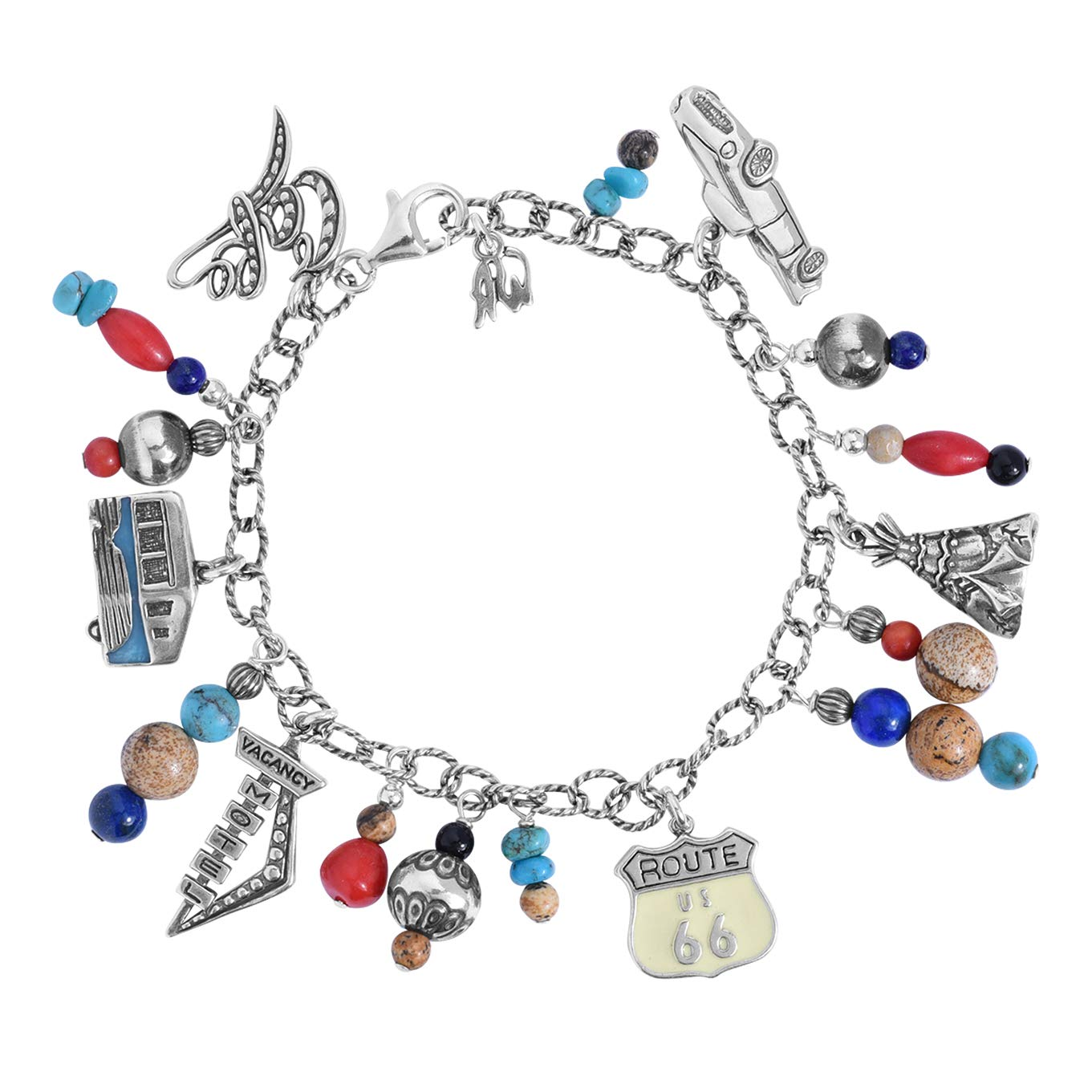 Sterling Silver Route 66 Multicolor Semi-Precious Bead Charm Chain Bracelet, Average (Fits 6-3/8'' to 6-3/4'') by American West (Image #1)