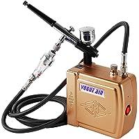 YAOBLUESEA Mini Kit Complet de compresseur aérographe Airbrush compresseur Professionnel Double Action Airbrush kit 100-240V Or