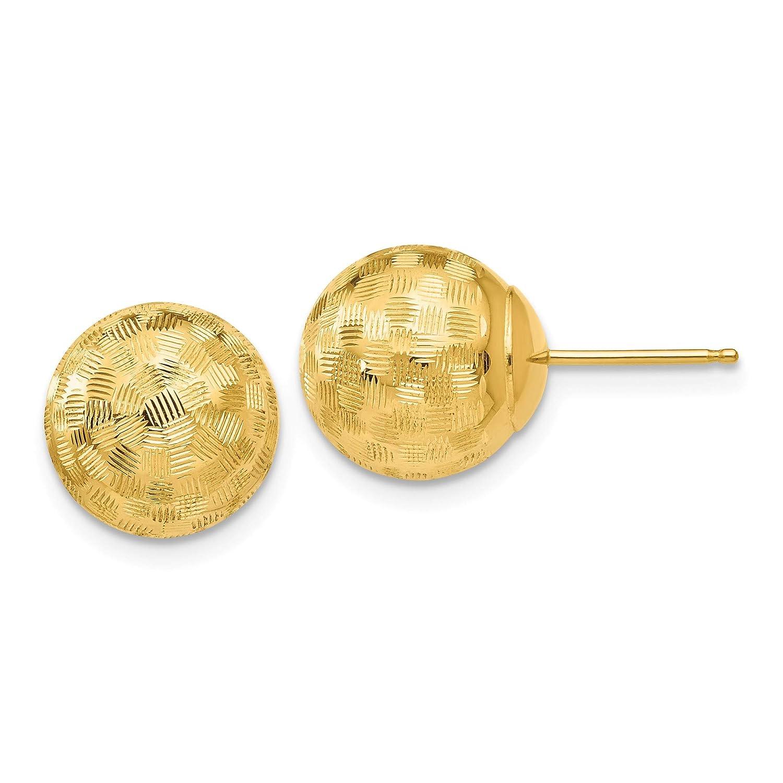 14K Gold Round 10mm Checkerboard Diamond Cut Ball Earrings