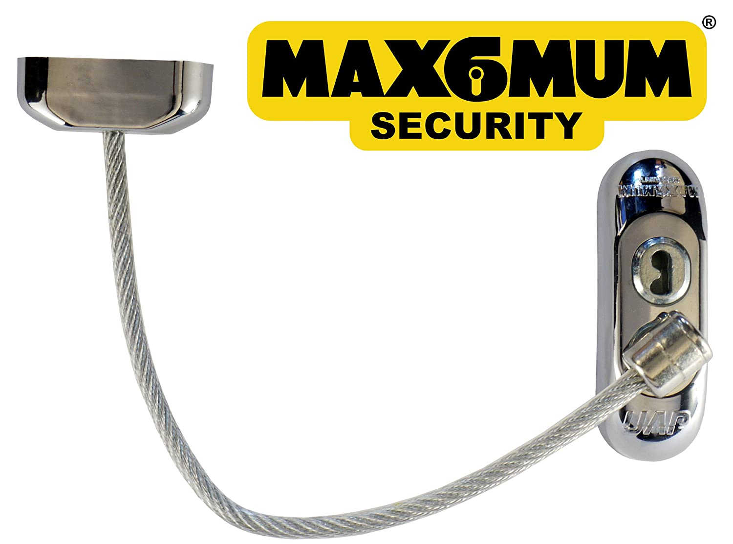 2 x Chrome MAX6MUM SECURITY Lockable Baby and Child Window and Door Safe Restrictors with Clear Cable
