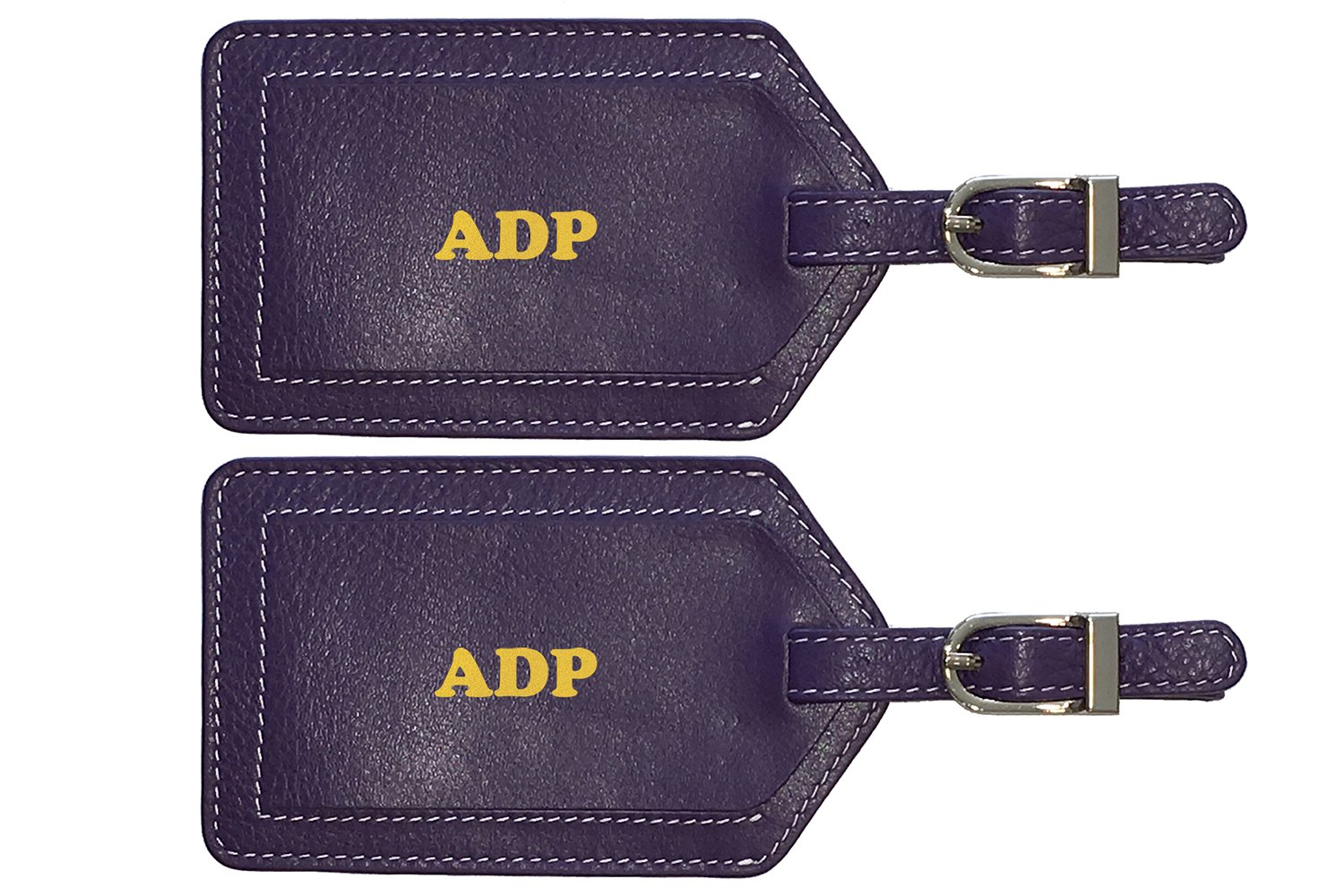 Personalized Monogrammed Dark Purple Leather Luggage Tags - 2 Pack