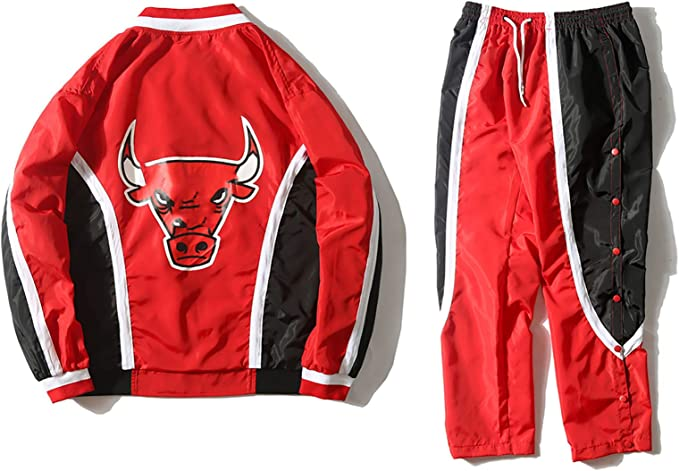 Retro Bulls Basketball Jacke Kit Anzug 1992-1993 Fr/ühling Herbst Langarm-lose Windbreaker Sport Jersey Coat