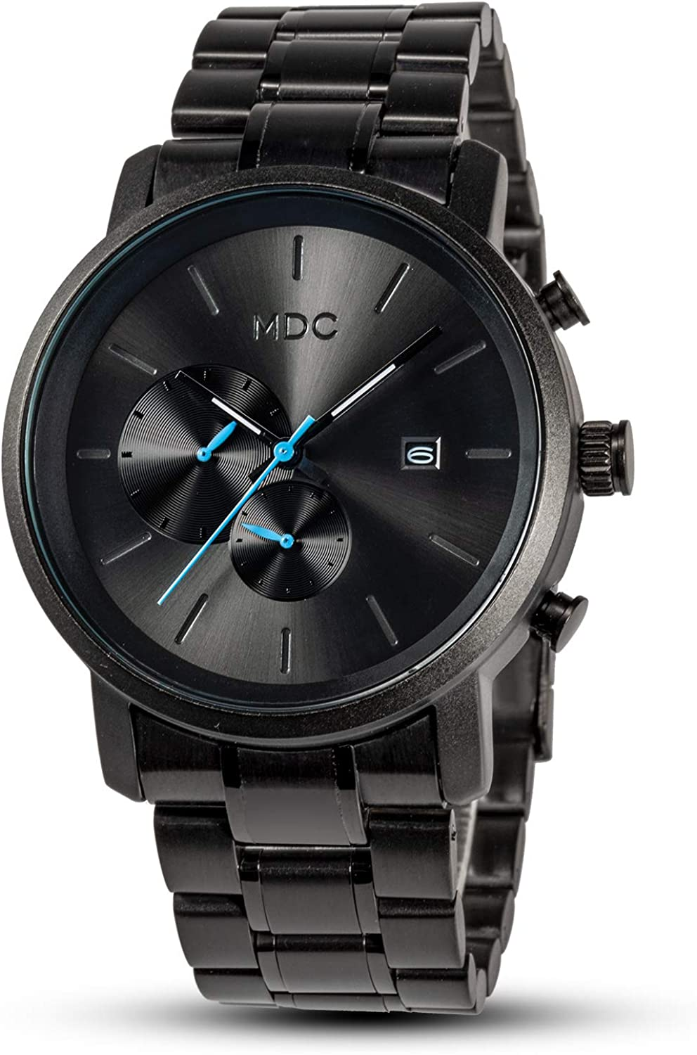 MDC Mens Fashion Watches Black Chronograph Quartz Wrist Watche