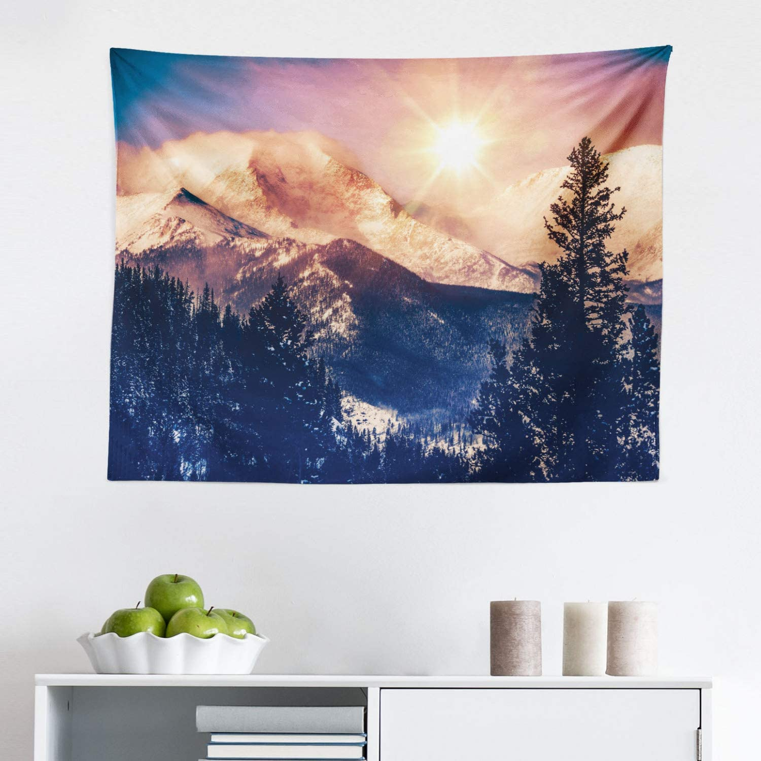 """Lunarable USA Tapestry, Mountains in Colorado American Idyllic Nature Sun Snowy Hills and Trees, Fabric Wall Hanging Decor for Bedroom Living Room Dorm, 28"""" X 23"""", Blue Orange"""