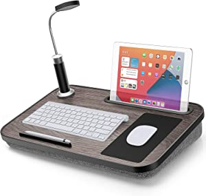 LORYERGO Lap Desk - Laptop Desk with Built in LED Light & Mouse Pad, Portable Laptop Stand Fits Laptops up to 15.6 Inches, Laptop Table with Phone & Tablet Holder for Couch, Bed
