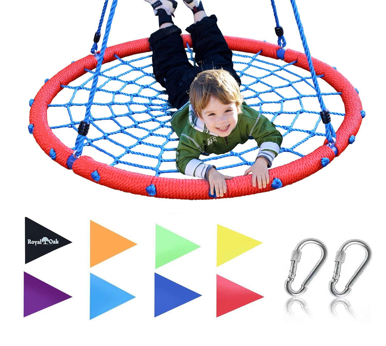 Royal Oak Giant 40'' Spider Web Tree Swing, 600 lb Weight Capacity, Durable Steel Frame, Waterproof, Adjustable Ropes, Bonus Flag Set 2 Carabiners, Non-Stop Fun Kids!