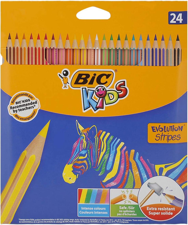 BIC Kids Evolution Stripes Lápices de colores - colores Surtidos, Blíster de 24 unidades
