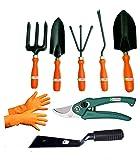 Easy Gardening - Garden Tools Kit (8Tools) Weeder,Trowel Big,Trowel Small,Cultivator,Fork, Pruner, Khurpi, Orange Gloves