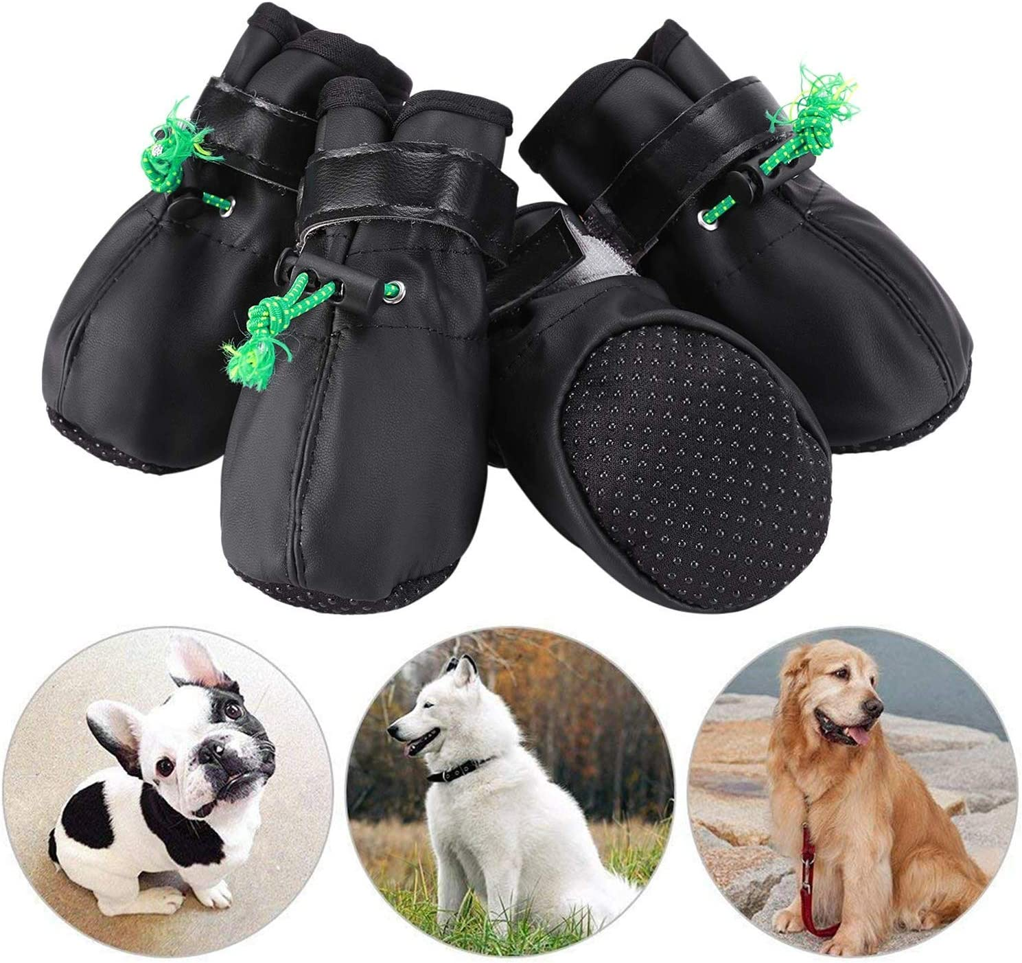 JATEN Dog Shoes,Soft PU Leather Dog Boots with Velcro Straps and Elastic Adjusting Buckle Straps,Anti-Slip Sole Paw Protectors for Dog Hot Pavement Hiking Running Indoor Walking Stay On Shoes