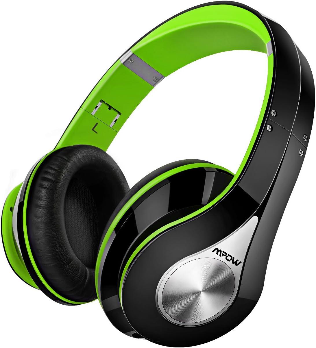 Mpow 059 Auriculares Diadema Bluetooth con Micrófono CVC 6.0, 25 hrs de Duración, Sonido Estéreo, Auriculares Diadema Inlámbricoa para TV, Cascos Bluetooth Diadema Plegable para Skype/PC/Móvil, Verde