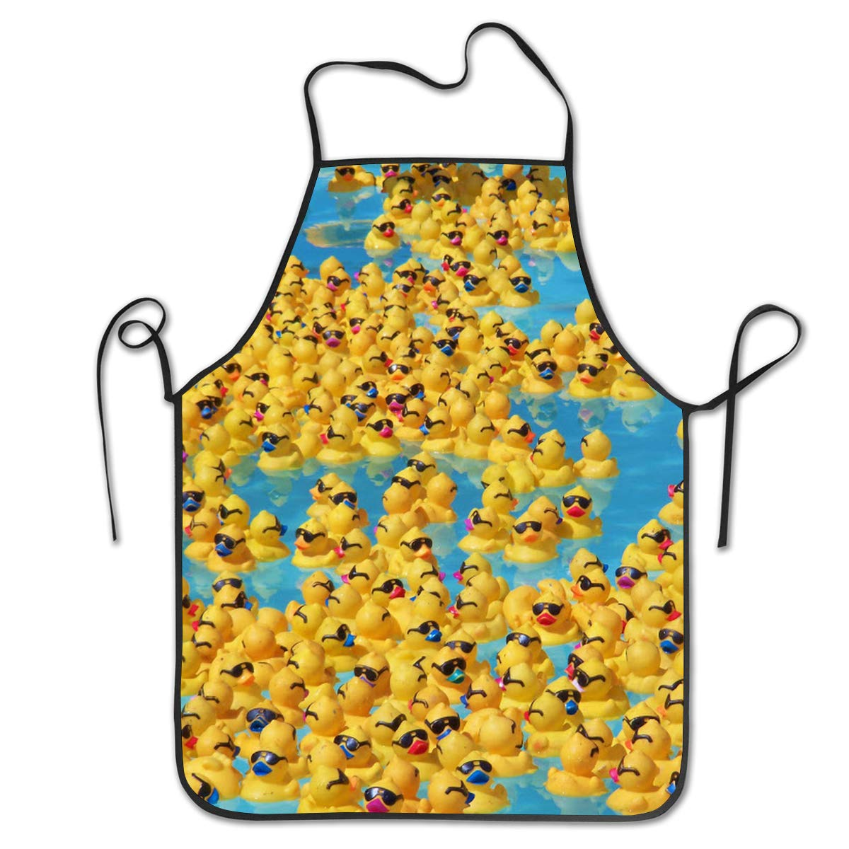 OKAYDECOR Kitchen Apron Cute Rubber Yellow Ducks with SunglassesBib Aprons Women Men Professional Chef Aprons with Extra Long Ties/Waterproof Waiter Hostess Apron for Restaurant Baking