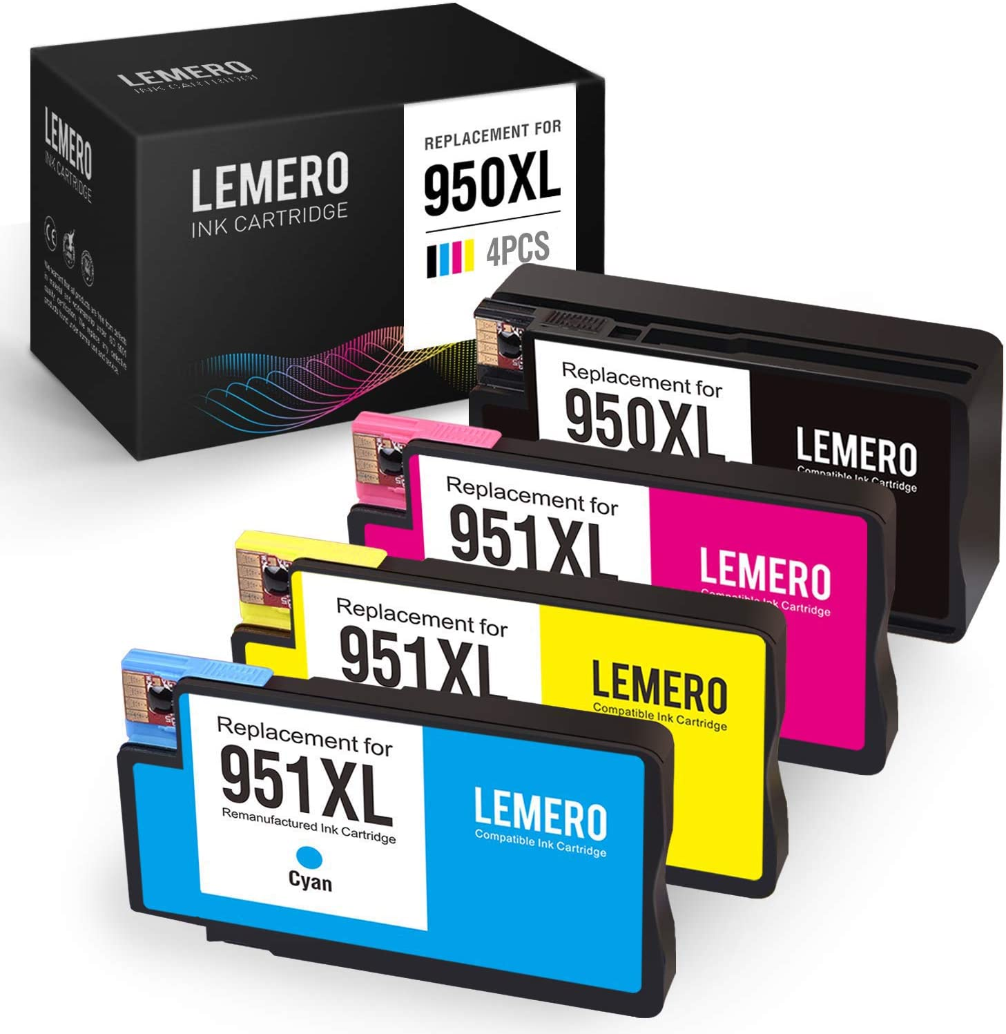 LEMERO Compatible Ink Cartridge Replacement for HP 950XL 951XL for OfficeJet Pro 8610 8600 8620 8630 8100 8625 8615 8640 8660 251dw 276dw 271dw (1 Black, 1 Cyan, 1 Magenta, 1 Yellow, 4 Pack)
