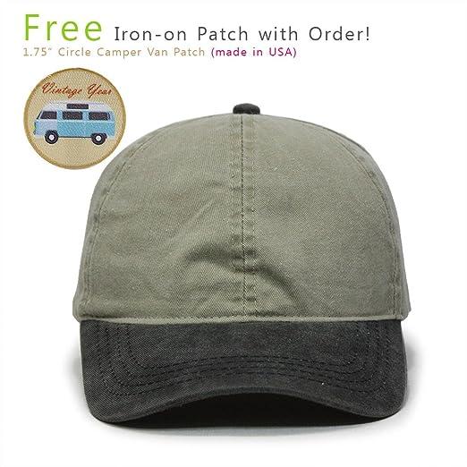 Ponytail Open Back Washed Cotton Adjustable Baseball Cap (Black Khaki) e0c2613ecfe