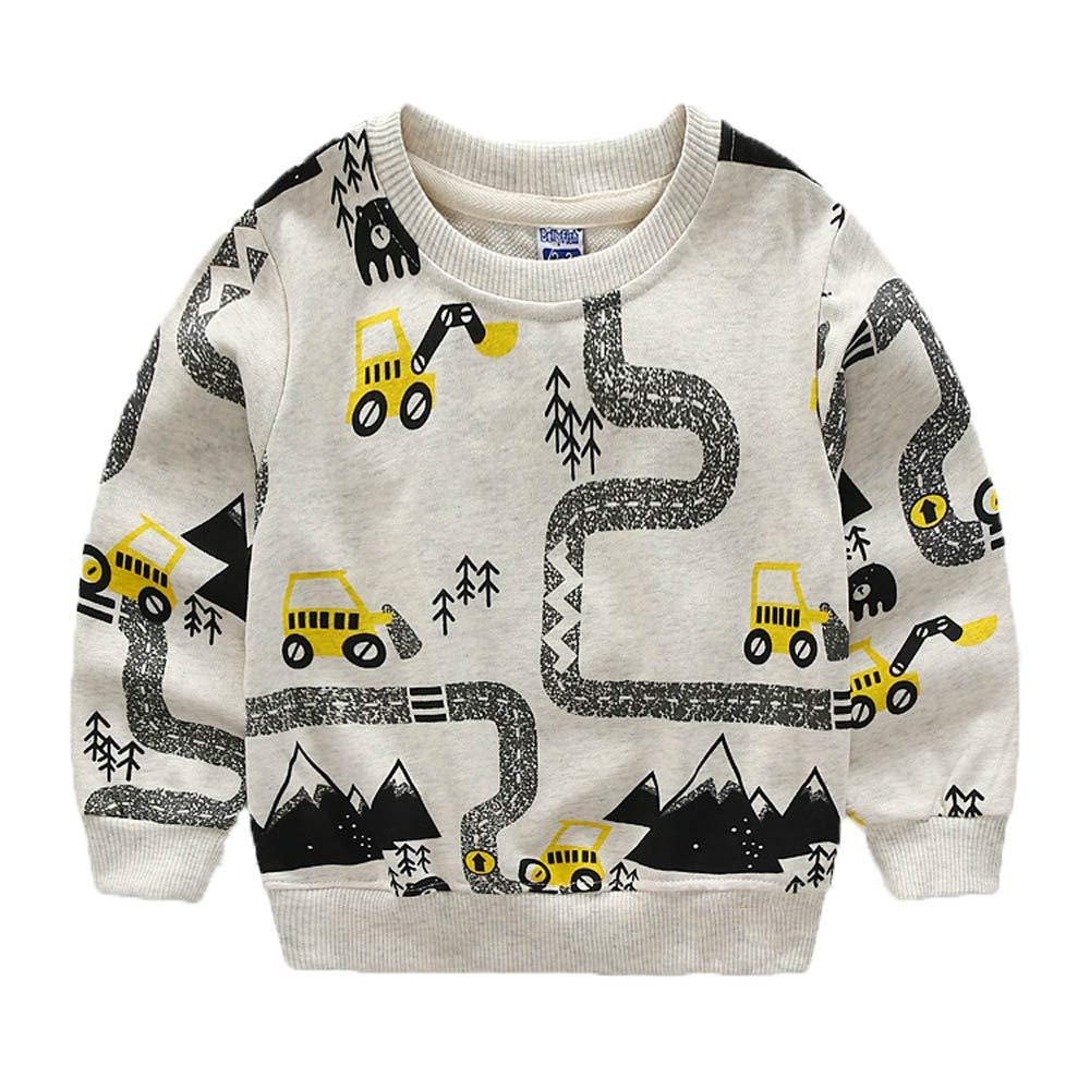 KIDSALON Little Boys' Cotton Crewneck Long Sleeve Cute Cartoon Top/T-Shirt (3T, Excavator)
