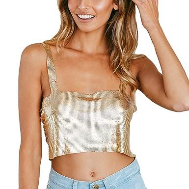 de81b4e24ff8d3 Women Summer Sexy Cami Tank Top Vest Shiny Bodycon Fashion Halter Blouse T- Shirt Tunic for Teen Girls at Amazon Women's Clothing store:
