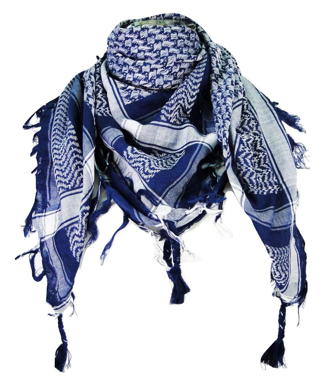 Premium Shemagh Head Neck Scarf - Blue/White