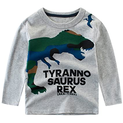 Waboats Boys Long Sleeve Cotton T-Shirt Kids Dinosaur Tee Shirt Tops  Childrens T Shirt: Amazon.co.uk: Clothing