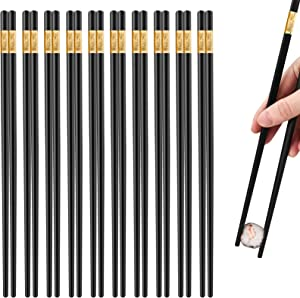 10 pairs Fiberglass Alloy Chopsticks, Reusable High- Grade Fiberglass Chopsticks, Durable Non- Slip Chopsticks, reusable chopsticks dishwasher safe, Chinese style Japanese Korean chopsticks (black)