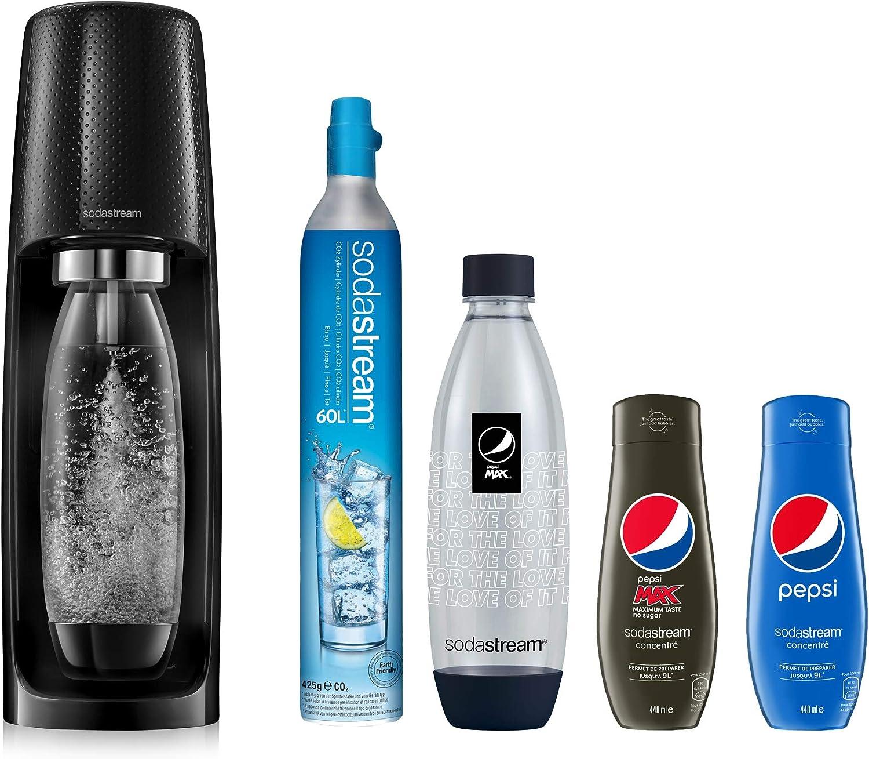 sodastream - Pack Especial para máquina Espiral (plástico, 1 Botella, 1 Botella de 1 litro, 1 Botella de Fucsia Pepsi y 2 concentrados)