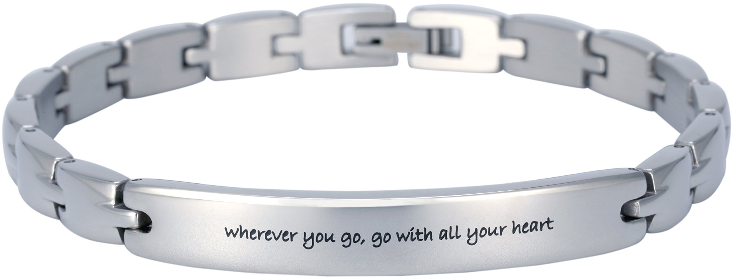 Elegant Surgical Grade Steel Womens Inspirational Quote Mantra Bracelet, Many Styles (Wherever You go, go with All Your Heart)