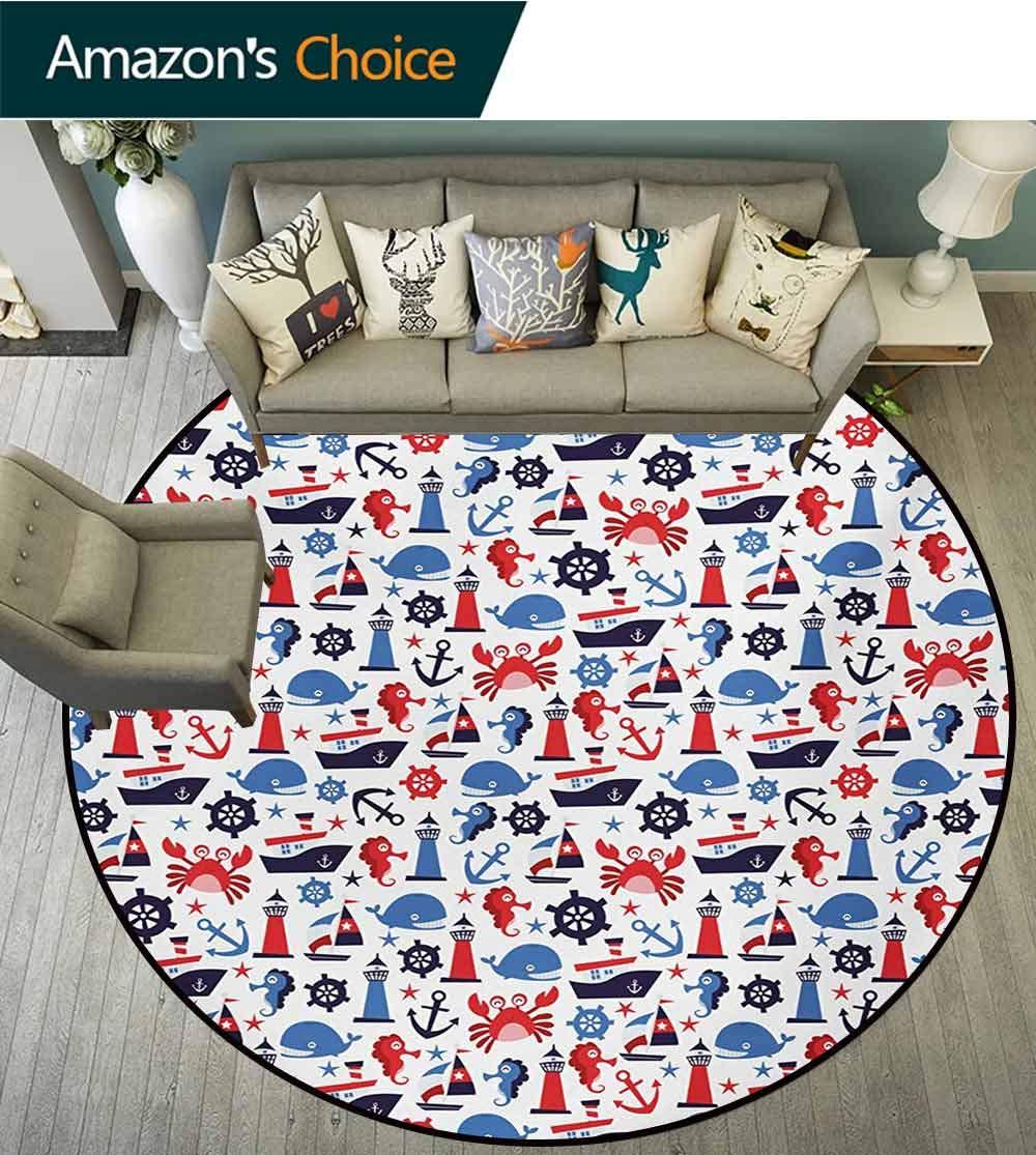 RUGSMAT Nautical Round Rug,Steering Wheel Crab Cartoon Style Happy Fun Children Artwork Underwater World Carpet Door Pad for Bedroom/Living Room/Balcony/Kitchen Mat,Diameter-59 Inch