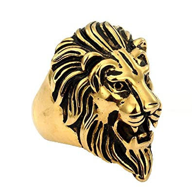 Trendsmax Retro Mens 316L Stainless Steel Roaring Lion King Ring