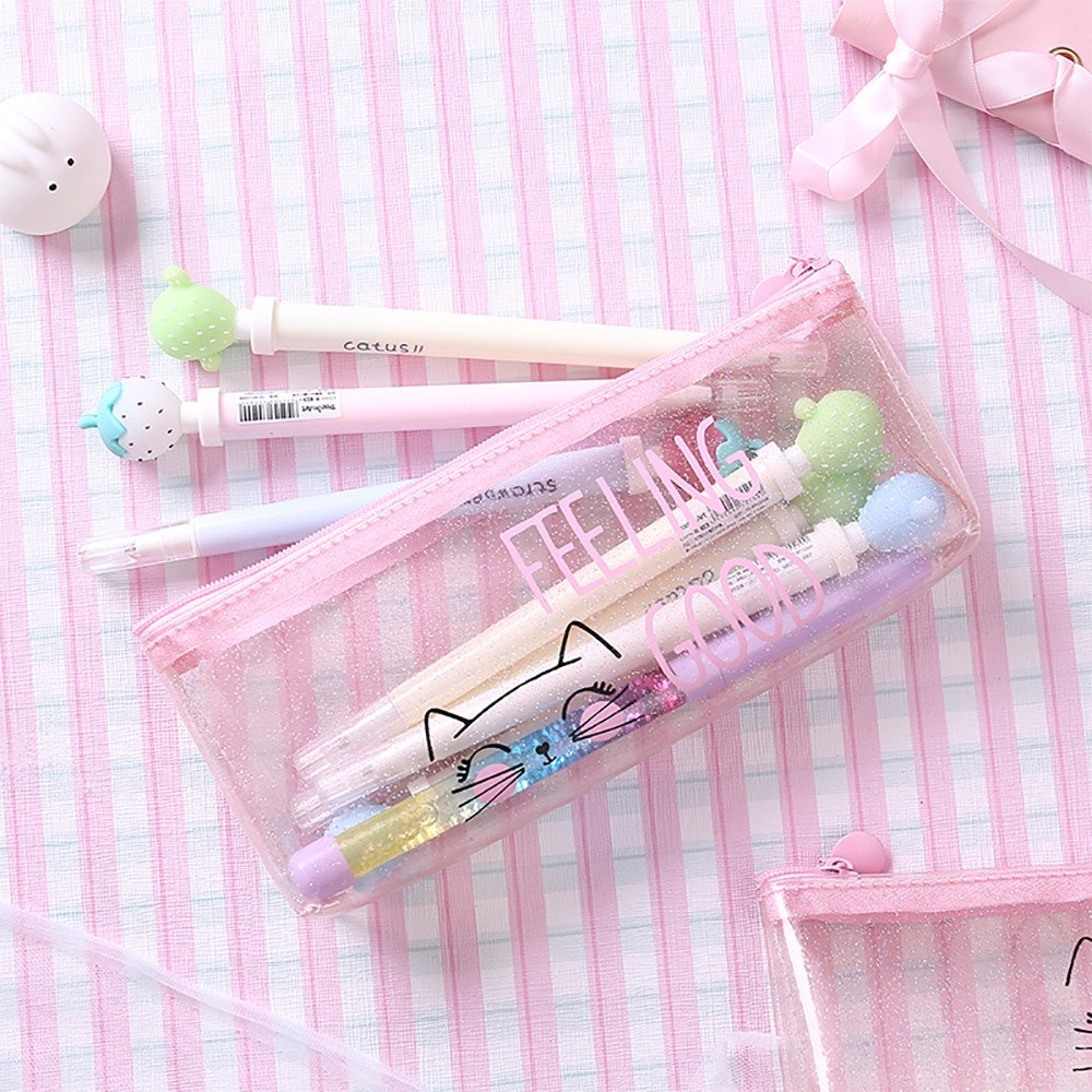 Transparent Pencil Case with Zipper Pink Flash Pencil Pouch ...