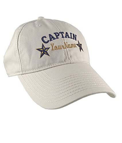 7822976cbe344 Personalized Captain Stars Your Name Embroidery on Adjustable Stone Beige  Unstructured Mid Profile Cap with Option to Personalize the Back   Amazon.ca  ...