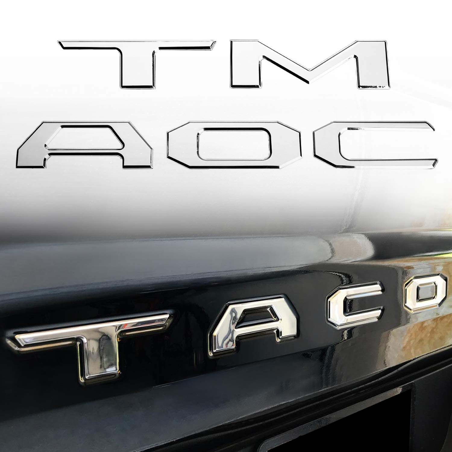 Seven Sparta 3D Raised Tailgate Zinc Alloy Letters for Toyota Tacoma 2016 2017 2018 Metal Inserts (Matte Black)
