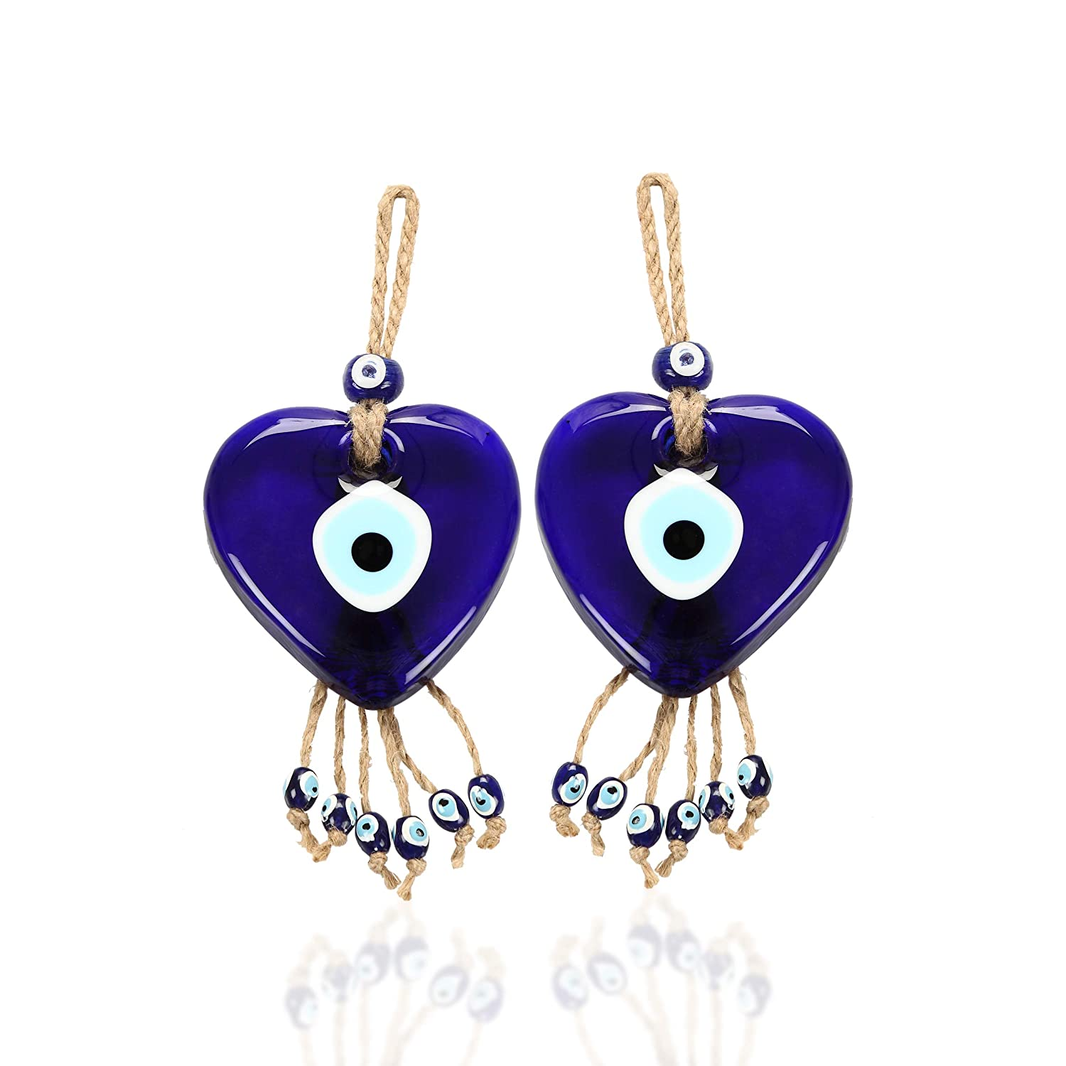 Set of 2 Heart Shaped Glass Blue Evil Eye Wall Hanging Decorative Wall Talisman Good Luck Charm Gift for Protection/&Blessing Authentic /& Unique Gift Idea