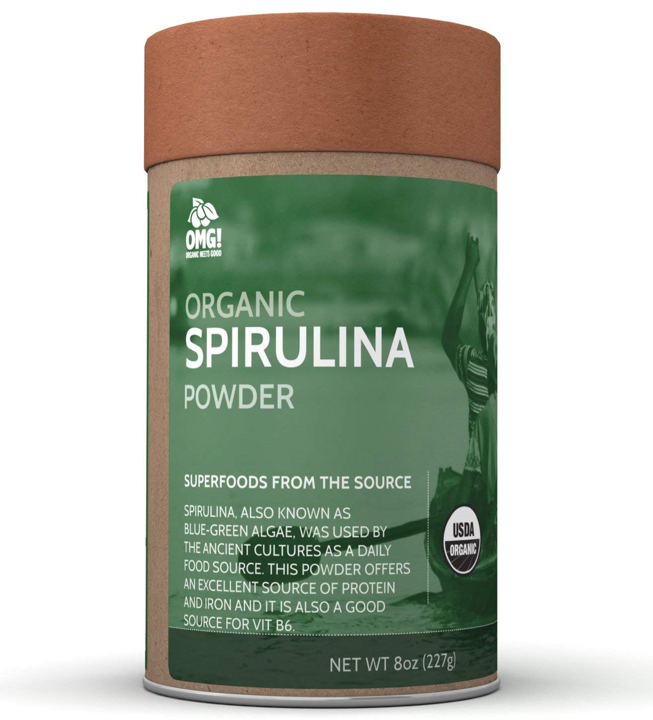 OMG! Superfoods Organic Spirulina Powder – 100% Pure, USDA Certified Organic Spirulina Powder – 8oz