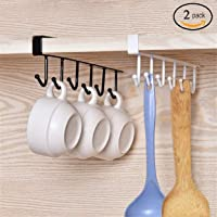 HOME CUBE Multifunctional 6 Stainless Steel Door Organiser /Hook Hanger (White and Black)-Pack of 2